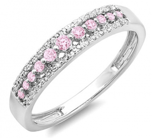 14k gold pink sapphire diamond ring