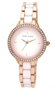 anne klein crystal pink ceramic rose gold watch