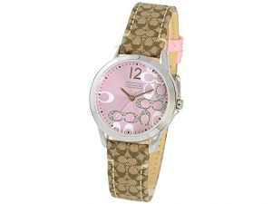 coach signature strap pink dial watch
