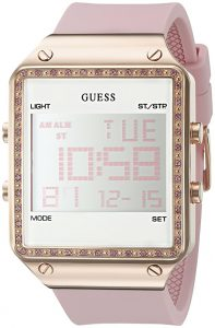 guess digital pink silicone watch