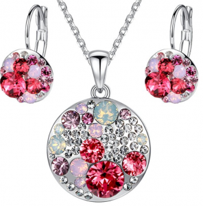 leafael circle pendant earring set