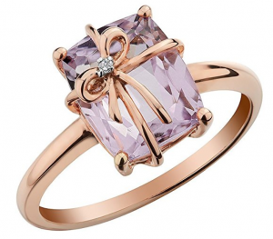pink amethyst with diamond gold ring