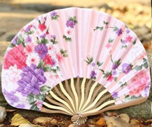 pink bamboo silk hand fan