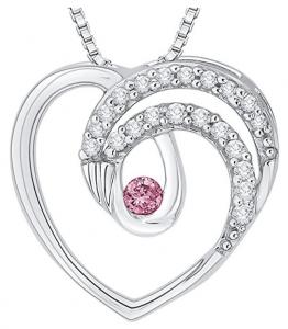 pink and white diamond fashion pendant