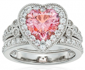 platinum plated silver zirconia pink heart ring set