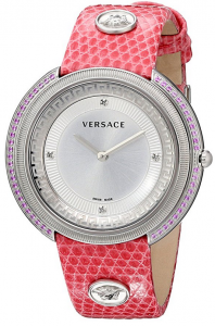 versace thea sapphire diamond pink leather watch