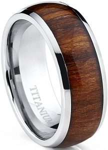 wood inlayed wedding ring