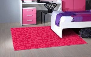 patterned pink bedroom rug