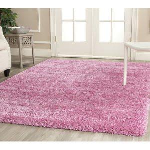 shaggy pink bedroom rug