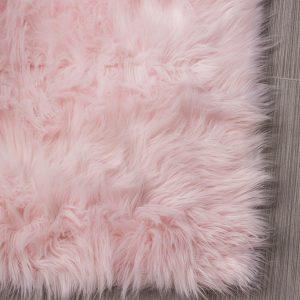 faux sheepskin silky pink rug