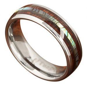 abalone tungsten wooden wedding ring