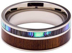 titanium koa wood engagement ring