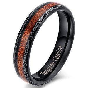 tungsten carbide wooden inlay ring