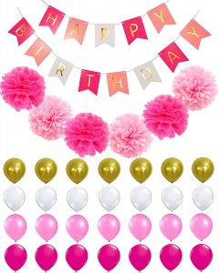 Pink birthday party decoration kit