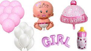 Pink gender reveal party decoration kit