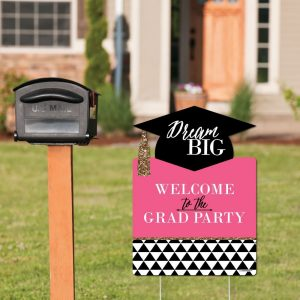 Pink graduation party sign