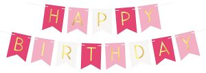 Pink happy birthday sign