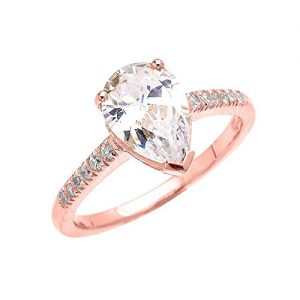 10k rose gold 3 carat cz pear