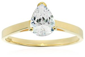 14k White gold cubic zirconia pear