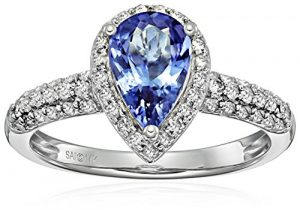 14k white gold tanzanite and diamond pear