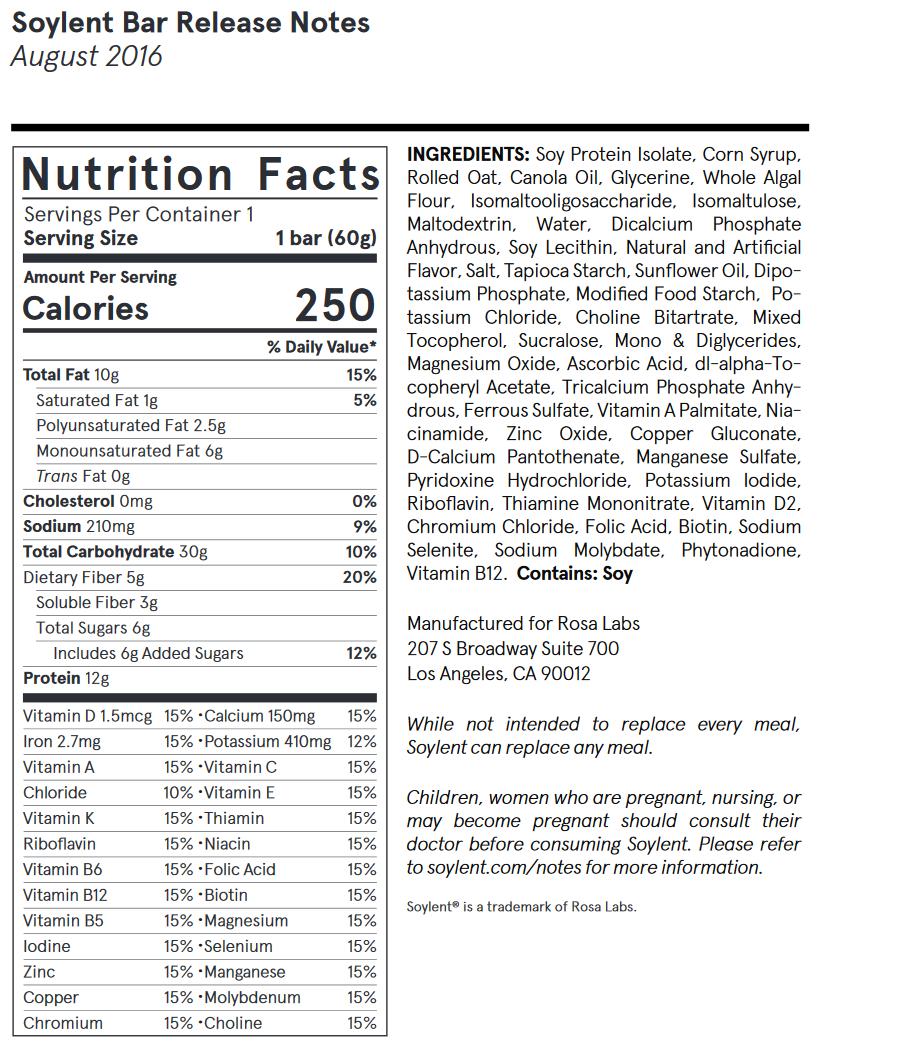 soylent nutritional information