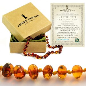 Amber crown baltic amber teething necklace