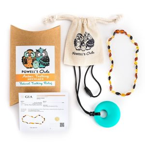 Powell's owls baltic amber teething necklace
